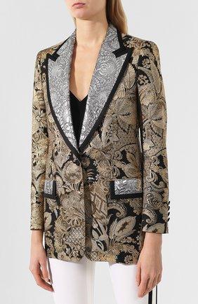 Жаккардовый жакет Dolce & Gabbana золотой   Фото №3