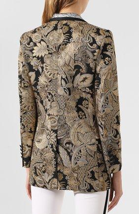 Жаккардовый жакет Dolce & Gabbana золотой   Фото №4