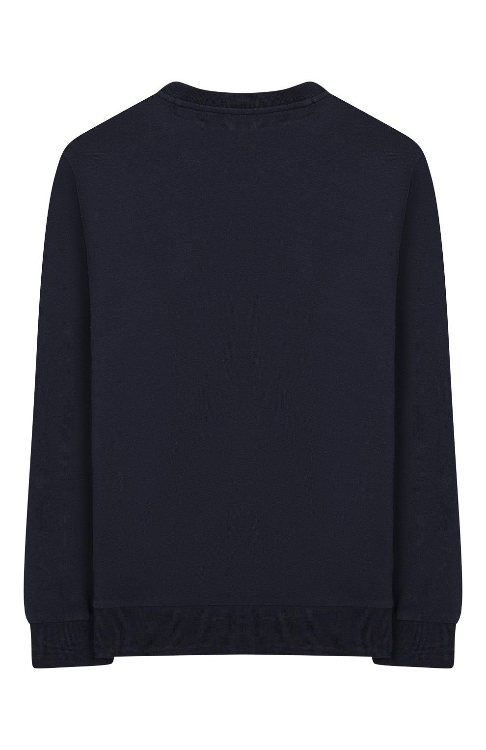Детский хлопковый свитшот Ea 7 темно-синего цвета | Фото №2
