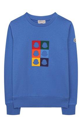 Детский хлопковый свитшот MONCLER ENFANT синего цвета, арт. E1-954-80260-05-809AG/12-14A | Фото 1