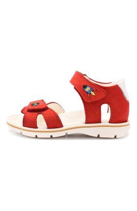 Детские кожаные сандалии с застежкой велькро WALKEY красного цвета, арт. Y1B2-40261-0121 | Фото 2