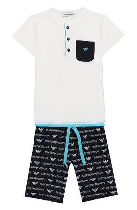 Детский хлопковая пижама EMPORIO ARMANI белого цвета, арт. 3GHV03/4J09Z | Фото 1