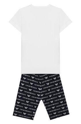 Детский хлопковая пижама EMPORIO ARMANI белого цвета, арт. 3GHV03/4J09Z | Фото 2