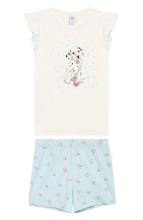 Детская хлопковая пижама SANETTA белого цвета, арт. 232257 | Фото 1