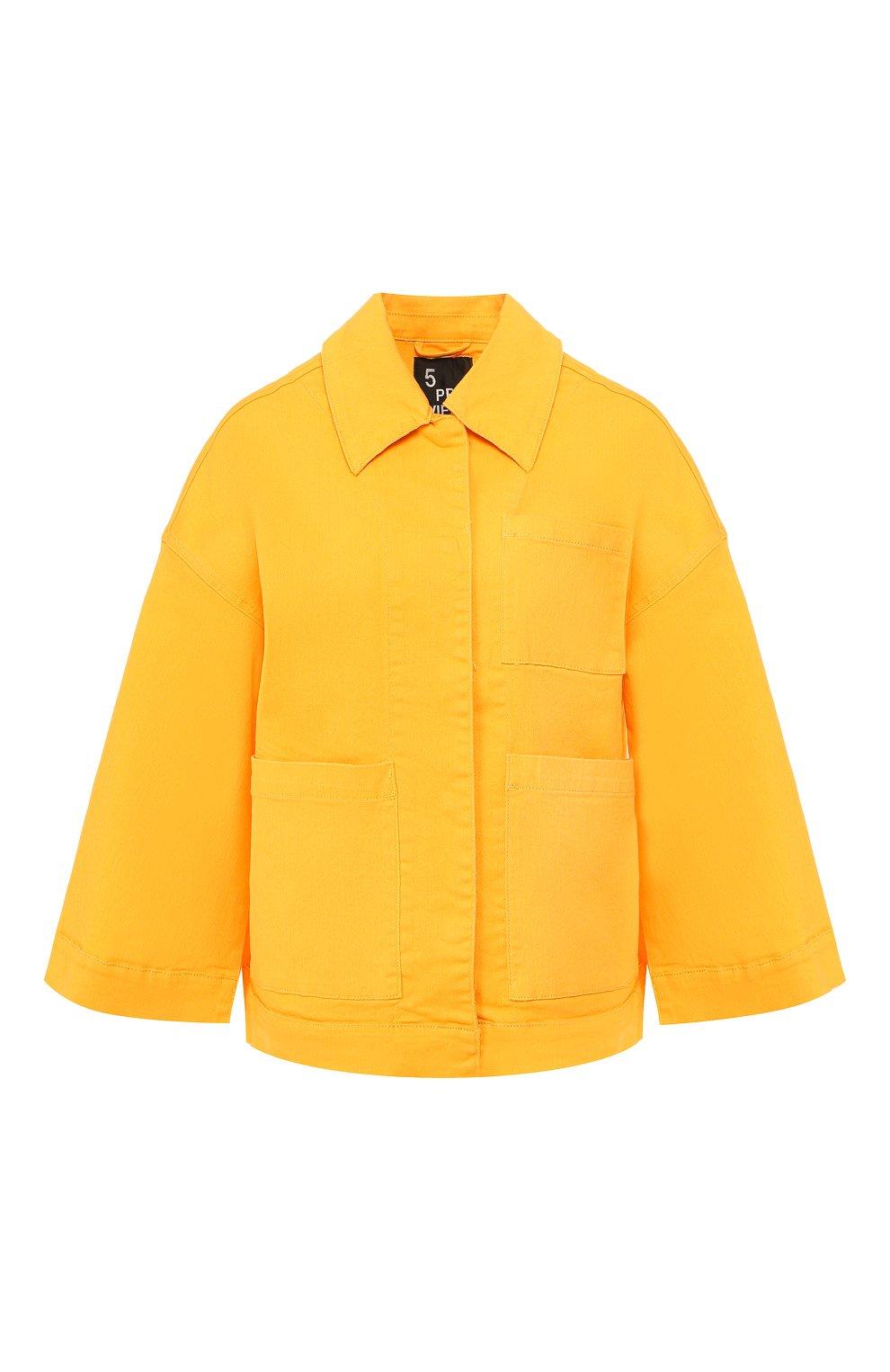 Женская джинсовая куртка 5PREVIEW желтого цвета, арт. U010   Фото 1