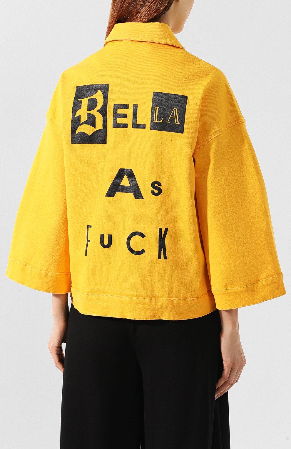 Женская джинсовая куртка 5PREVIEW желтого цвета, арт. U010   Фото 4