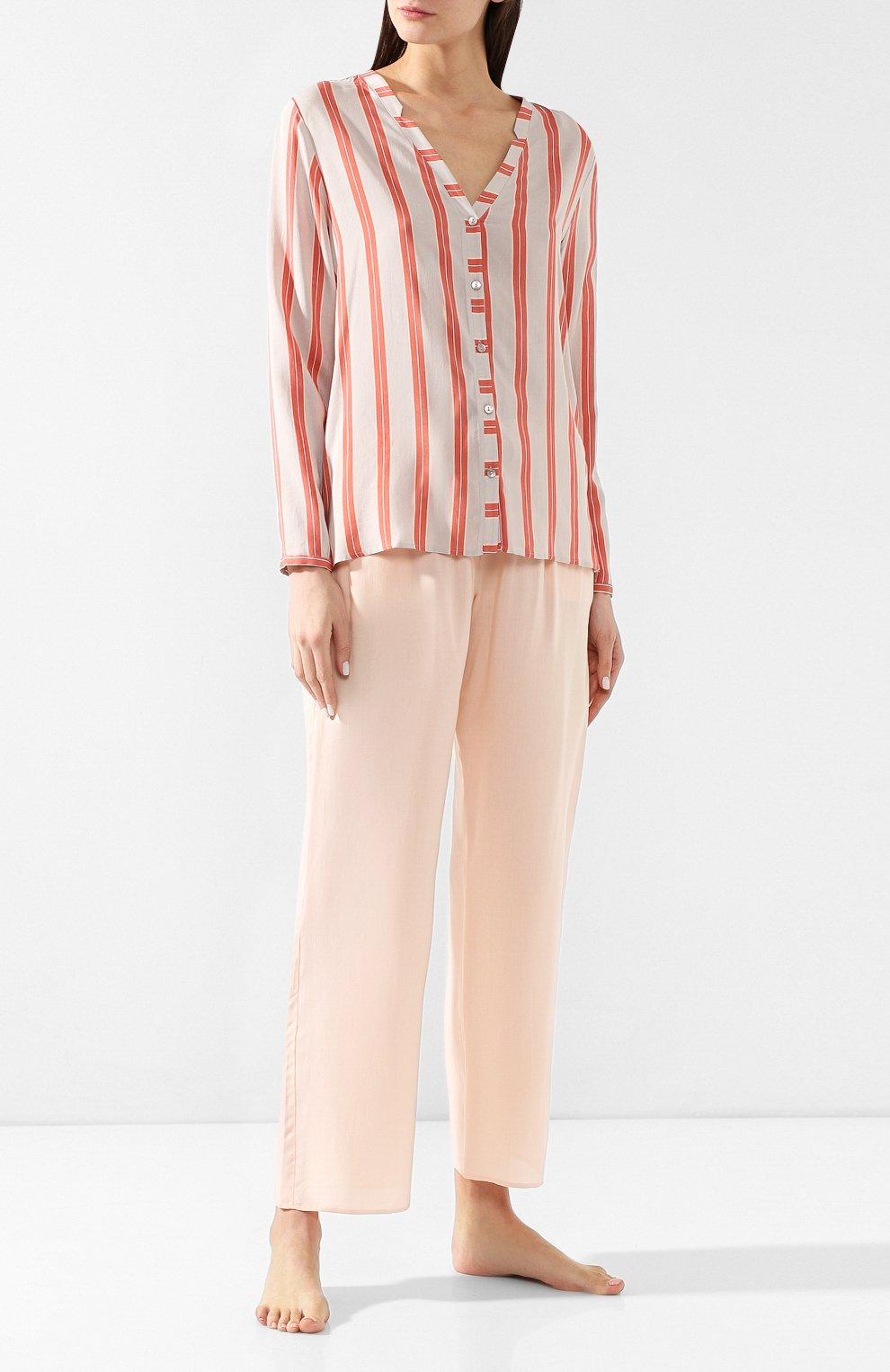 Женские брюки из вискозы HANRO светло-розового цвета, арт. 077617 | Фото 2