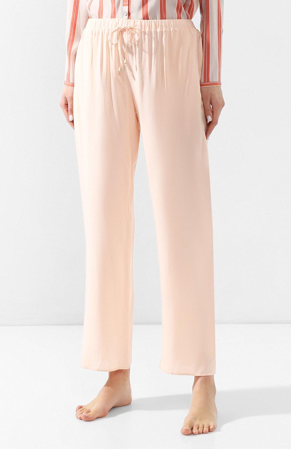 Женские брюки из вискозы HANRO светло-розового цвета, арт. 077617 | Фото 3