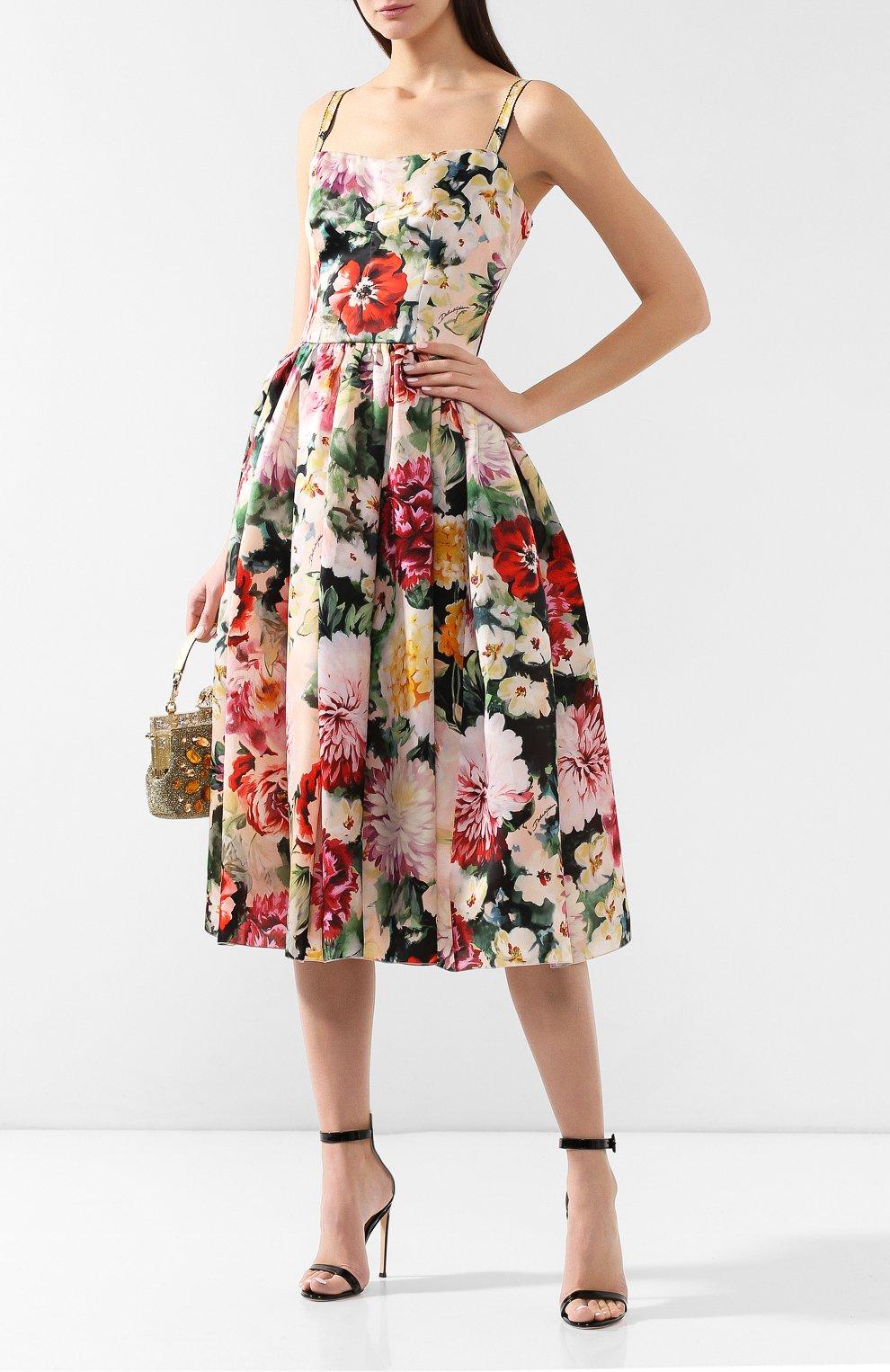 Шелковое платье Dolce & Gabbana разноцветное | Фото №2