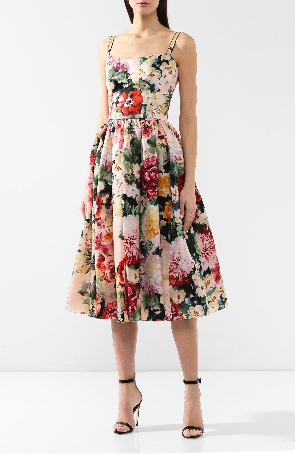 Шелковое платье Dolce & Gabbana разноцветное | Фото №3