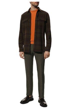 Мужской льняные брюки  BERWICH зеленого цвета, арт. SC/1/LM104 | Фото 2