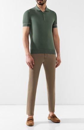 Мужское хлопковое поло BRUNELLO CUCINELLI зеленого цвета, арт. M29800815 | Фото 2
