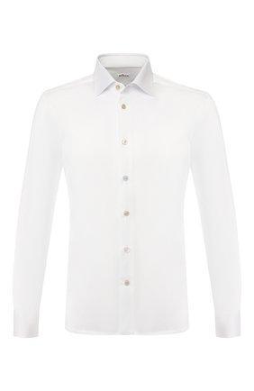 Мужская хлопковая сорочка с воротником кент KITON белого цвета, арт. UMCNERH0683401 | Фото 1