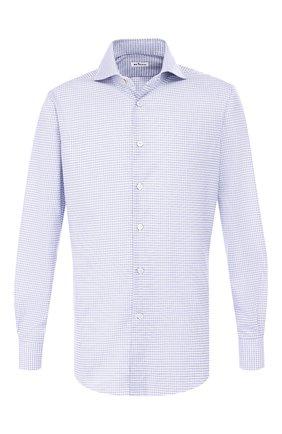 Мужская хлопковая сорочка с воротником кент KITON синего цвета, арт. UCIH0692712 | Фото 1