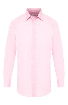 Мужская сорочка из смеси хлопка и льна BRIONI кораллового цвета, арт. RCLU38/P708Y | Фото 1