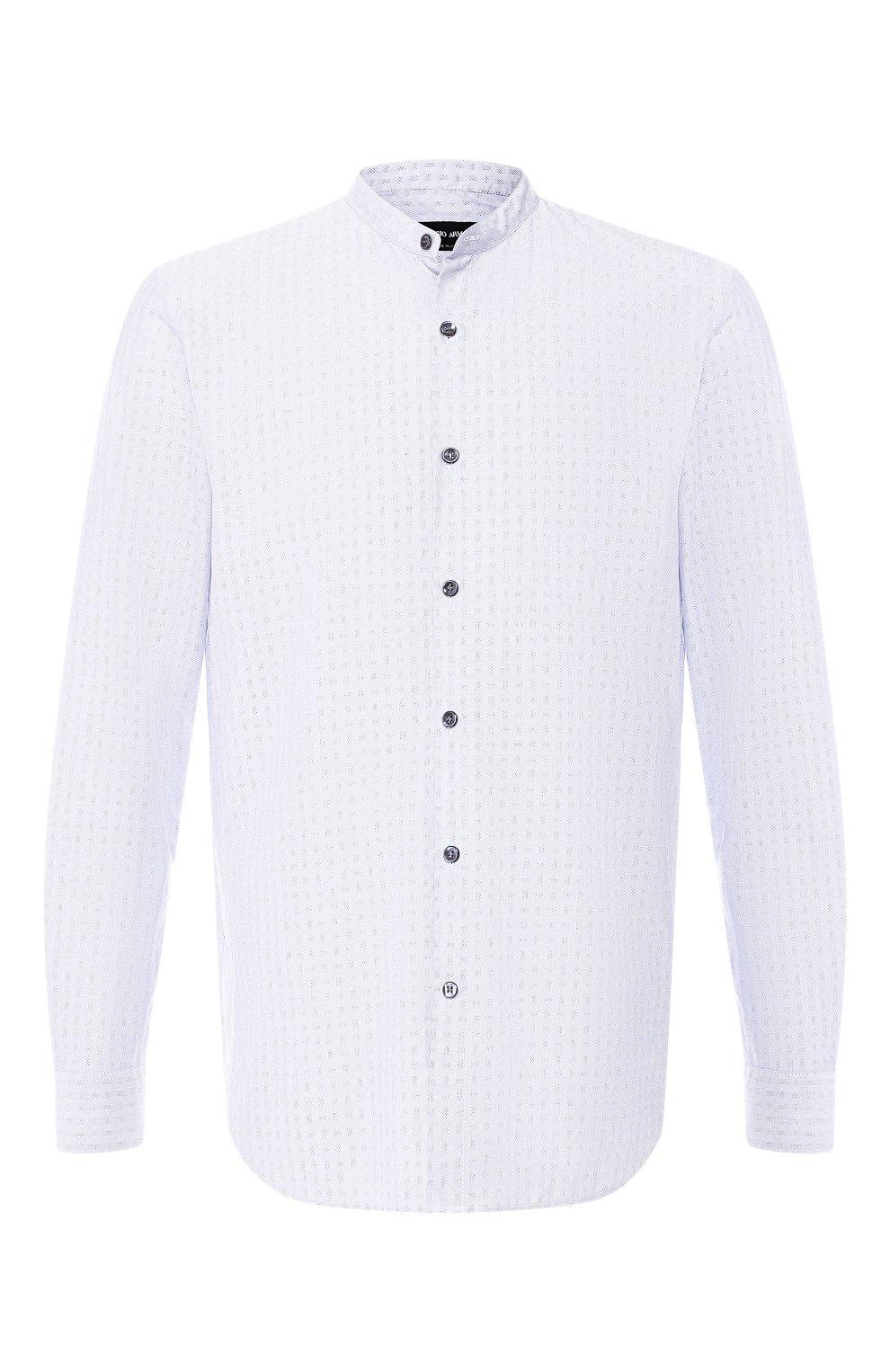 Мужская хлопковая рубашка с воротником мандарин GIORGIO ARMANI серого цвета, арт. 9SGCCZ13/TZ213 | Фото 1