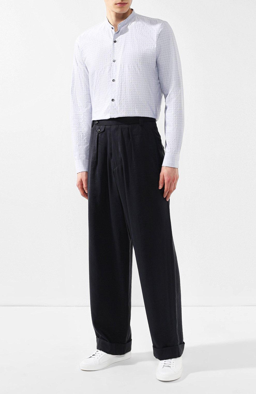 Мужская хлопковая рубашка с воротником мандарин GIORGIO ARMANI серого цвета, арт. 9SGCCZ13/TZ213 | Фото 2