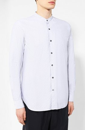Мужская хлопковая рубашка с воротником мандарин GIORGIO ARMANI серого цвета, арт. 9SGCCZ13/TZ213 | Фото 3