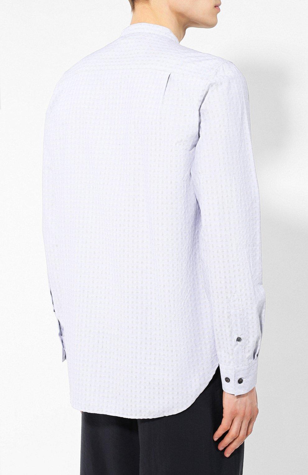 Мужская хлопковая рубашка с воротником мандарин GIORGIO ARMANI серого цвета, арт. 9SGCCZ13/TZ213 | Фото 4