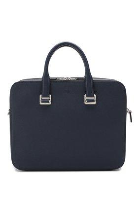 Мужская кожаная сумка для ноутбука DUNHILL темно-синего цвета, арт. DU18F3415CA | Фото 1