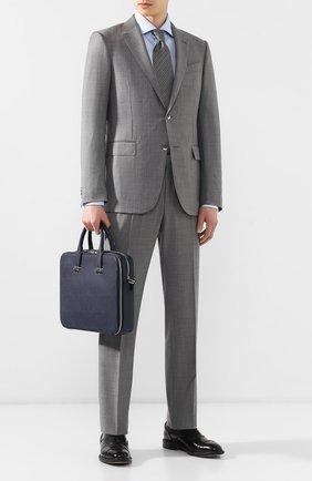 Мужская кожаная сумка для ноутбука DUNHILL темно-синего цвета, арт. DU18F3415CA | Фото 2