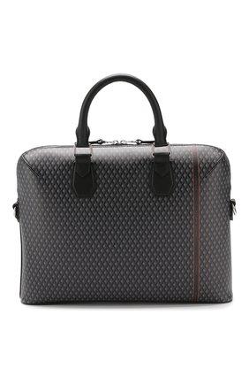Мужская кожаная сумка для ноутбука DUNHILL серого цвета, арт. DU19R330BCC | Фото 1