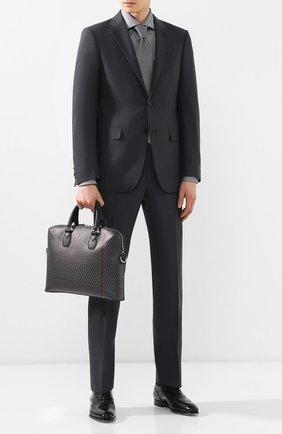 Мужская кожаная сумка для ноутбука DUNHILL серого цвета, арт. DU19R330BCC | Фото 2