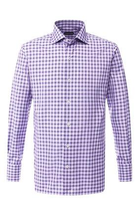 Мужская хлопковая сорочка с воротником кент TOM FORD фиолетового цвета, арт. 5FT060/94S3AX | Фото 1