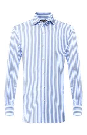 Мужская хлопковая сорочка с воротником кент TOM FORD голубого цвета, арт. 5FT230/94C1AX | Фото 1