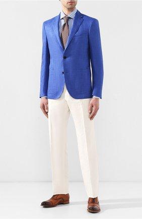 Мужская хлопковая сорочка с воротником кент TOM FORD голубого цвета, арт. 5FT230/94C1AX | Фото 2