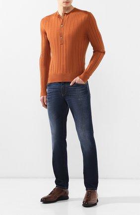 Мужской джемпер из смеси кашемира и шелка TOM FORD оранжевого цвета, арт. BSH01/TFK115   Фото 2