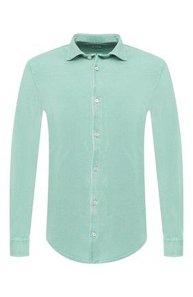 Хлопковая рубашка Fedeli светло-зеленая | Фото №1