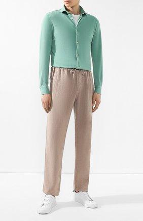 Хлопковая рубашка Fedeli светло-зеленая | Фото №2