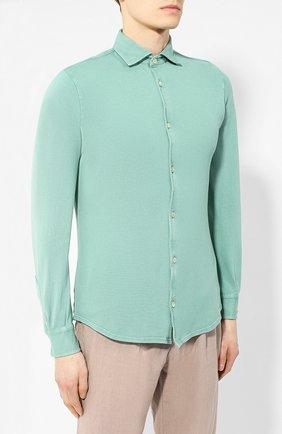 Хлопковая рубашка Fedeli светло-зеленая | Фото №3