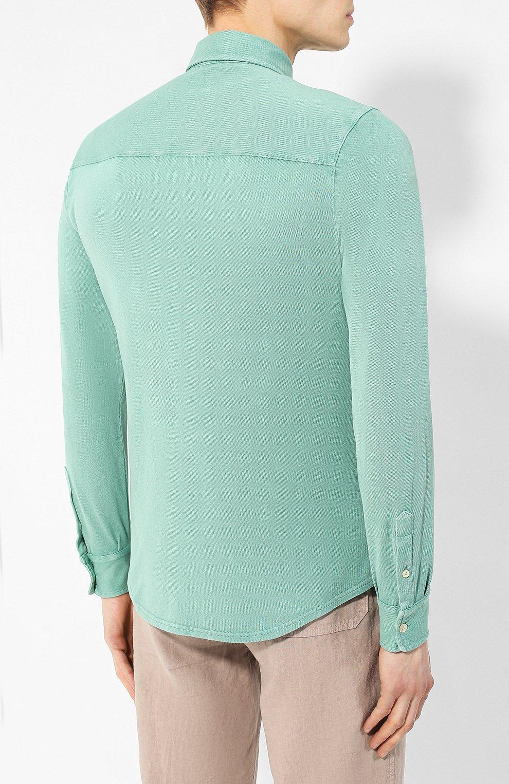 Хлопковая рубашка Fedeli светло-зеленая | Фото №4