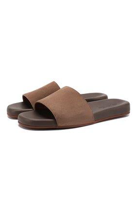 Мужские замшевые шлепанцы seaside walk LORO PIANA коричневого цвета, арт. FAI4870 | Фото 1