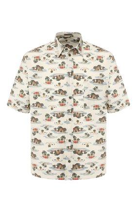 Мужская хлопковая рубашка BOTTEGA VENETA бежевого цвета, арт. 567121/VF1S0 | Фото 1