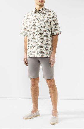Мужская хлопковая рубашка BOTTEGA VENETA бежевого цвета, арт. 567121/VF1S0 | Фото 2