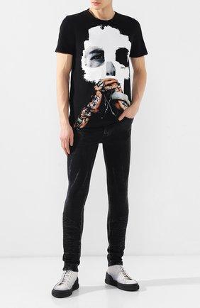 Мужские джинсы-скинни RH45 черного цвета, арт. 26HP60S | Фото 2 (Длина (брюки, джинсы): Стандартные; Статус проверки: Проверено; Материал внешний: Хлопок, Деним; Силуэт М (брюки): Узкие)