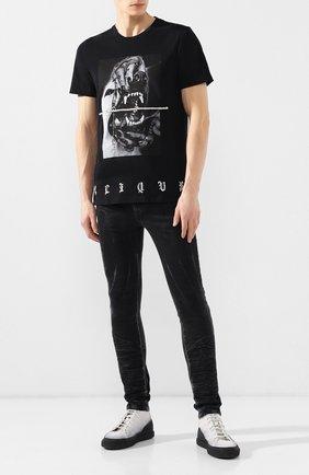 Мужская хлопковая футболка RH45 черного цвета, арт. 26HS16-I | Фото 2 (Длина (для топов): Стандартные; Материал внешний: Хлопок; Рукава: Короткие; Статус проверки: Проверено; Вырез: Круглый; Стили: Панк)