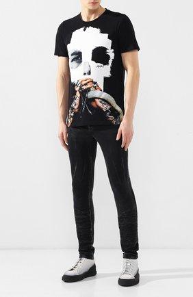 Мужская хлопковая футболка RH45 черного цвета, арт. 26HS23 | Фото 2 (Рукава: Короткие; Длина (для топов): Стандартные; Материал внешний: Хлопок; Принт: С принтом; Стили: Панк)