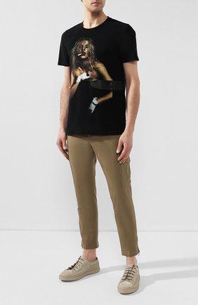 Мужская хлопковая футболка RH45 черного цвета, арт. 26HS24 | Фото 2 (Рукава: Короткие; Длина (для топов): Стандартные; Материал внешний: Хлопок; Принт: С принтом; Стили: Панк)