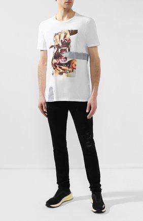 Мужская хлопковая футболка RH45 белого цвета, арт. 26HS27 | Фото 2 (Рукава: Короткие; Материал внешний: Хлопок; Длина (для топов): Стандартные; Стили: Панк)