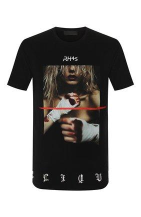 Мужская хлопковая футболка RH45 черного цвета, арт. 26HS29 | Фото 1 (Рукава: Короткие; Длина (для топов): Стандартные; Материал внешний: Хлопок; Принт: С принтом; Стили: Панк)