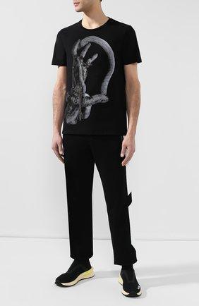 Мужская хлопковая футболка RH45 черного цвета, арт. 26HS47-I | Фото 2 (Длина (для топов): Стандартные; Материал внешний: Хлопок; Рукава: Короткие; Принт: С принтом; Стили: Панк)