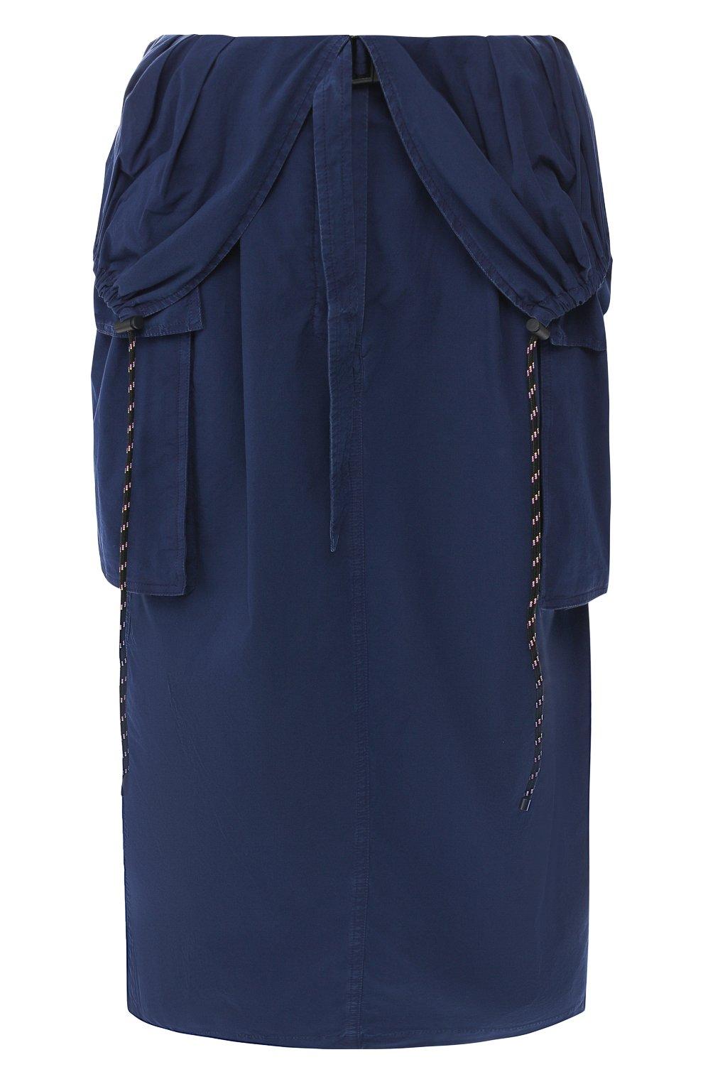 Женская хлопковая юбка DRIES VAN NOTEN синего цвета, арт. 191-10817-7287   Фото 1 (Материал внешний: Хлопок; Длина Ж (юбки, платья, шорты): Миди; Статус проверки: Проверено)