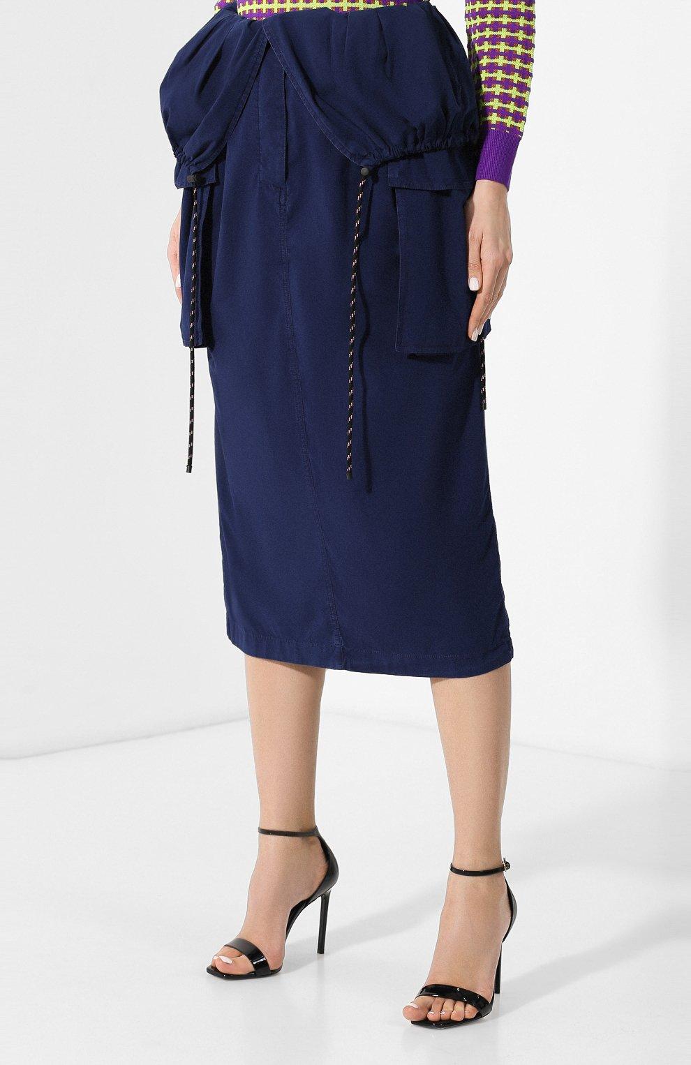Женская хлопковая юбка DRIES VAN NOTEN синего цвета, арт. 191-10817-7287   Фото 3 (Материал внешний: Хлопок; Длина Ж (юбки, платья, шорты): Миди; Статус проверки: Проверено)
