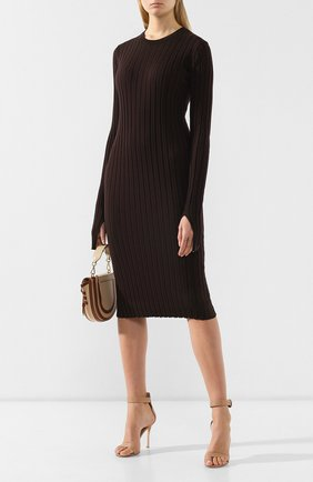Женское шерстяное платье HELMUT LANG коричневого цвета, арт. J01HW704 | Фото 2