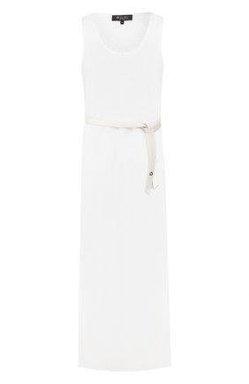 Женское платье с поясом LORO PIANA белого цвета, арт. FAI5305 | Фото 1