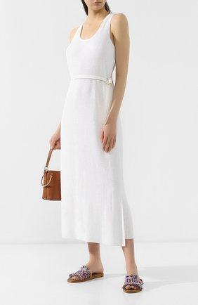 Женское платье с поясом LORO PIANA белого цвета, арт. FAI5305 | Фото 2